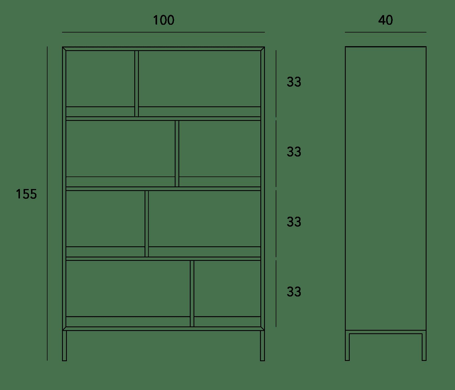 specifications - Enhance Open Bookcase Large - Oak