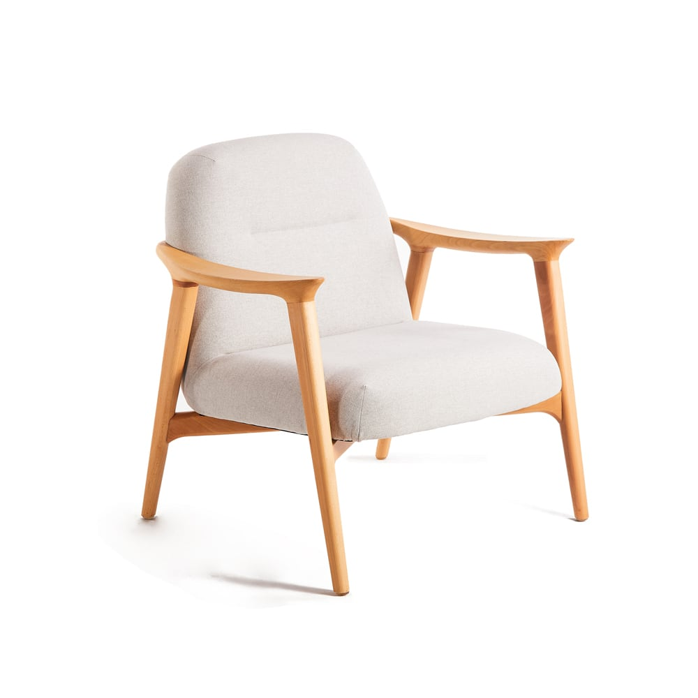 Puffy Timber Armchair - Light Grey Sunday 39