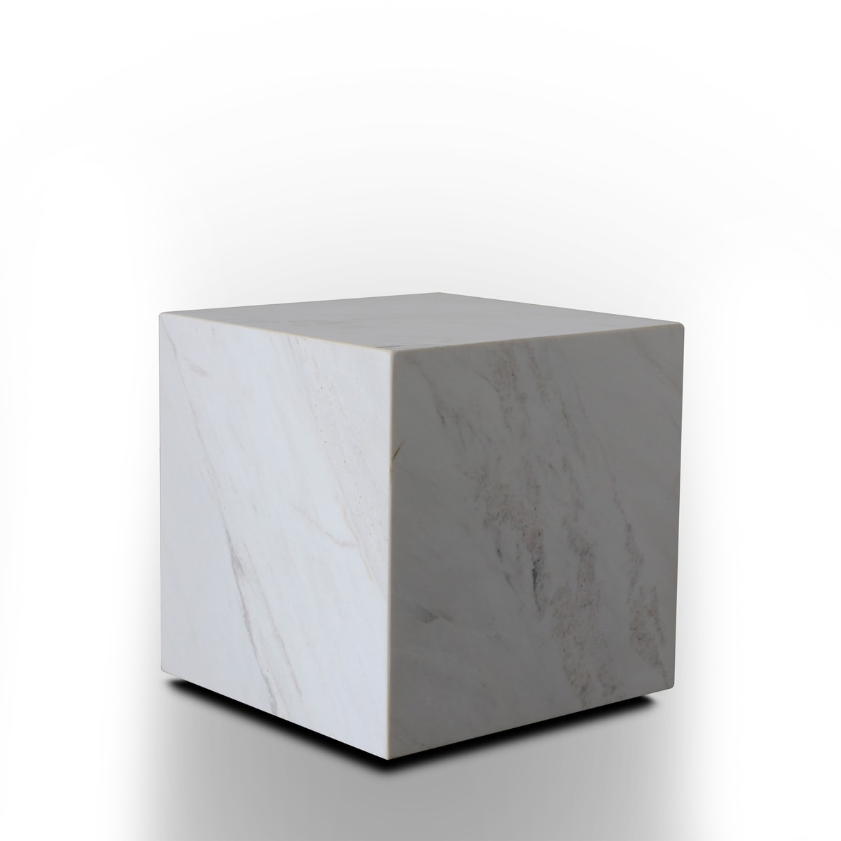 Stage Marble Side Table Low - White Marble