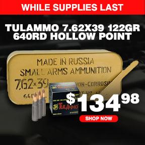 TulAmmo 7.62x39mm, 122 Grain JHP, 640 Rounds in Military Tin UL076205