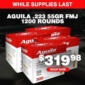 Aguila .223 Rem, 55 Grain FMJ, 1200 Rounds 1E223108