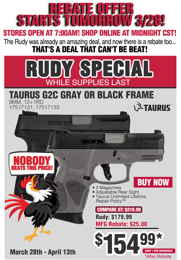 Taurus G2C's for $155 after rebate at Rural King - AR15 COM