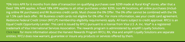 Rural King Harvest Rewards Terms & Conditions