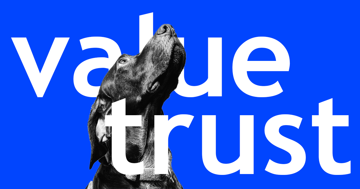 A dog thinking on value and trust