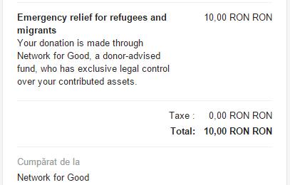 Donație către Network for Good