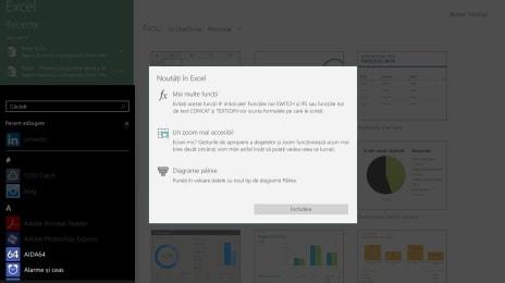 Excel în Windows 10 Mobile Continuum