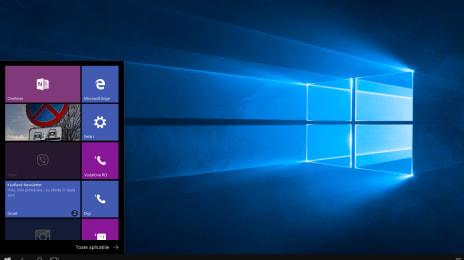 Meniul de Start al Windows 10 Mobile în Continuum: se văd unele aplicații care sunt dezactivate în Continuum, dar care merg în continuare pe telefon, pe ecranul mic