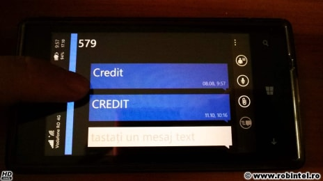 SMS cu textul Credit la 579