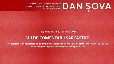 În perioada 28-29 Ianuarie 2014, mii de comentarii sarcastice au fost șterse de pe contul de Facebook al lui Dan Șova de către harnica lui echipă de PR.