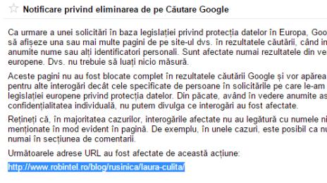 Laura Culiță blochează paginile cu ea pe Google Europa
