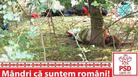 Mândri că suntem români - Oameni săraci dormind pe pământ, sub un copac, în Cluj