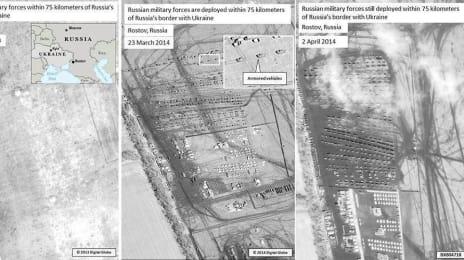 Prezența trupelor rusești la Rostov (în apropiere de granița cu Ucraina) în 25 Octombrie 2013, respectiv în 23 Martie și 2 Aprilie 2014