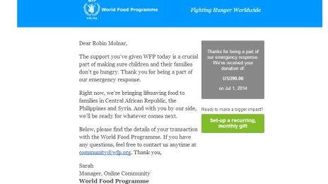 Donație la World Food Programme, 90 de dolari americani, din contul de PayPal