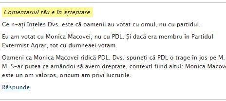 Comentariu în moderare pe blogul lui Stelian Tănase