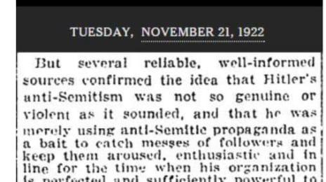 Cotidianul The New Yotk Times despre Hitler la 1921