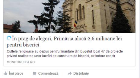 Câți bani dă municipiul Cluj-Napoca la biserică, Emil Boc pe Facebook