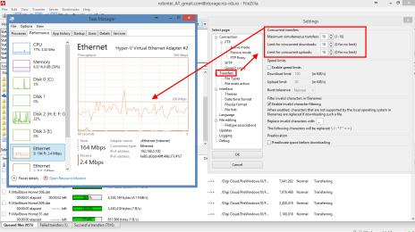 10 conexiuni concurente prin FTP, cu viteze de upload de pana la 200 mbps