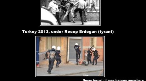 Comparație foto între o mineriadă din Bucuresti în România anilor 1990 și protestul din Istambul, Turcia, în 2013