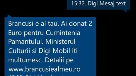 Donație SMS pentru Cumințenia Pământului de Brâncuși