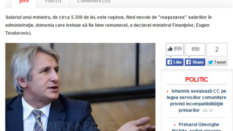 Eugen Teodorovici despre salariul de ministru - E rușinos