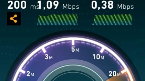 Rezultat de viteză la internetul mobil RDS de la SpeedTest.net