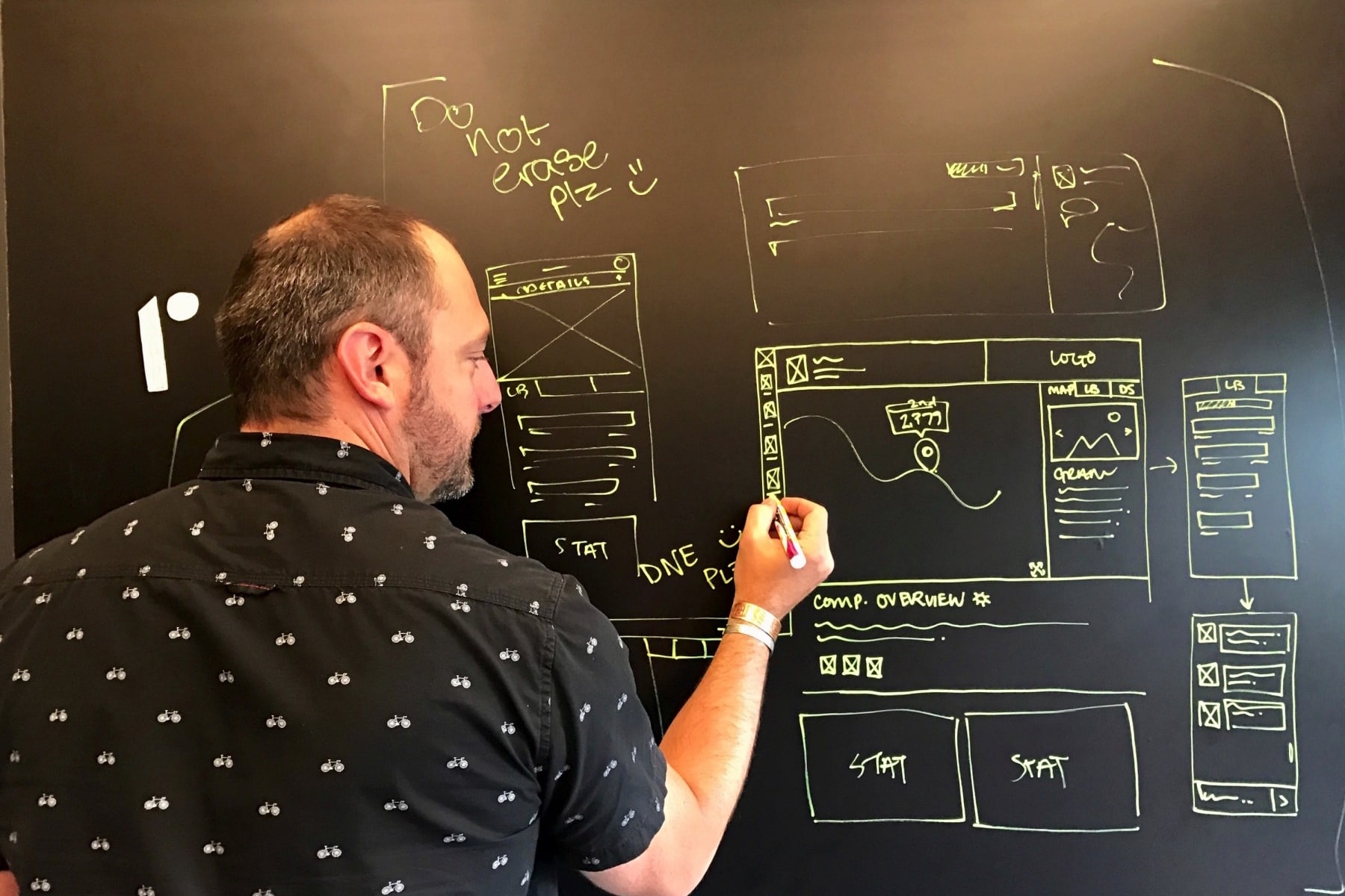 John Gentle creating wireframes on a blackboard in a creative session