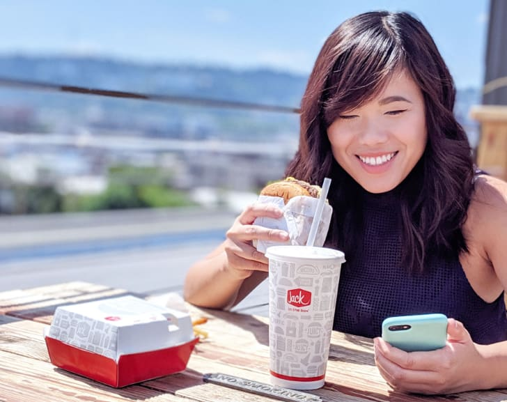 Jesi, Roboboogie Producer, enjoying Jack in the Box on the rooftop deck