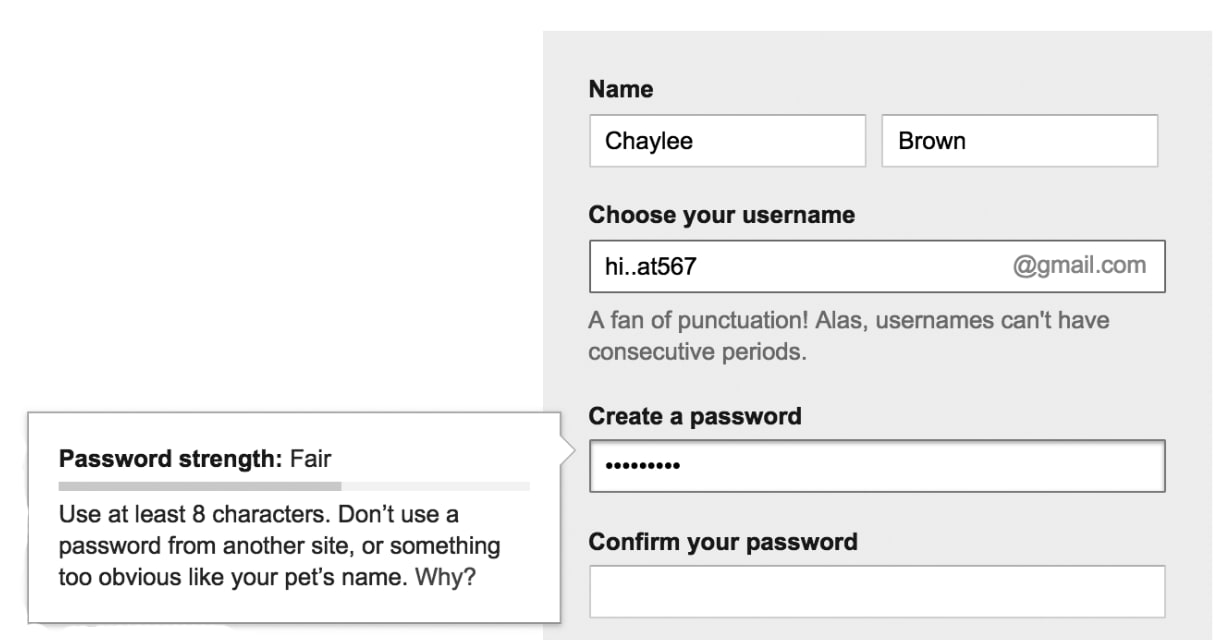 gmail's create account form without color