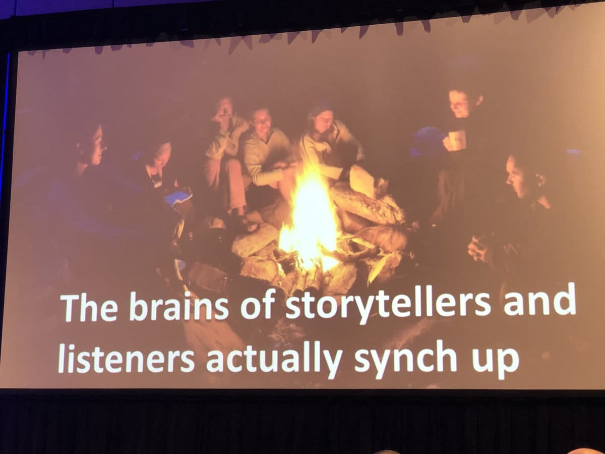Campfire with people around it and caption reading: The brains of storytellers and listeners actually synch up