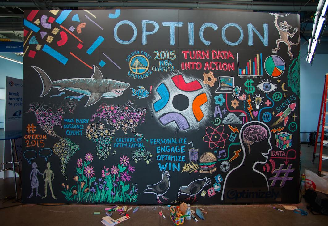 Opticon 2016 - Chalk Mural for Opticon - Turn data into action