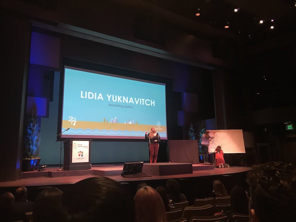 Portland Creative Conference - Lidia Yuknavitch in front of audience