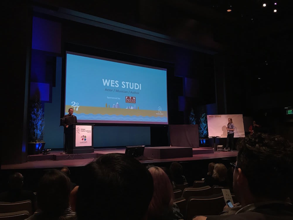 Portland Creative Conference - Wes Studi in front of audience