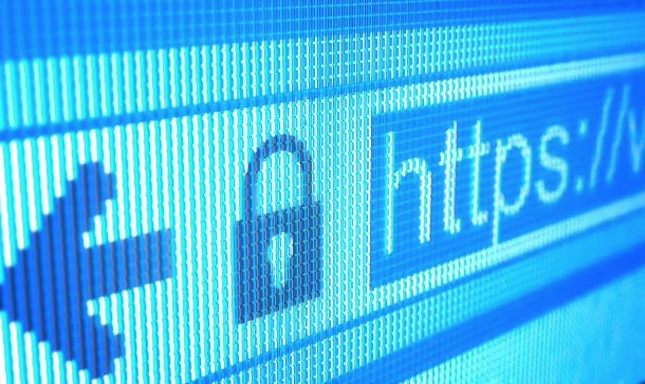 Close up of url bar showing a lock and https
