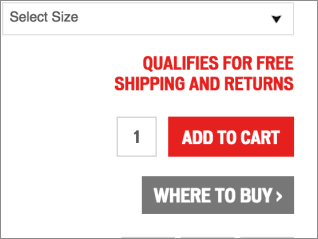 a/b test top copy variation: qualifies for free shipping and returns
