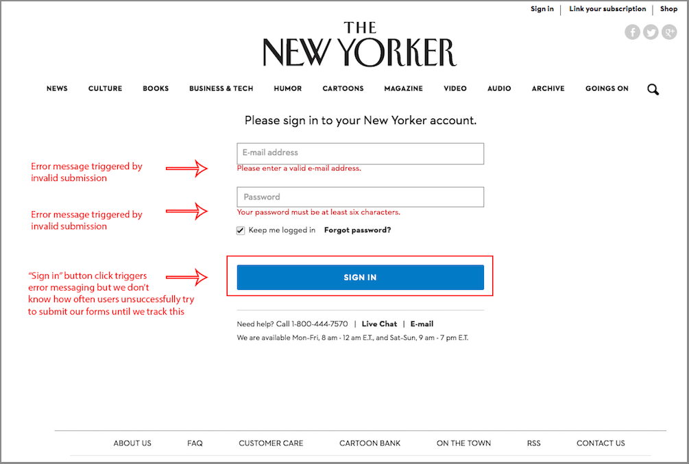 The New Yorker unsuccessful form submission