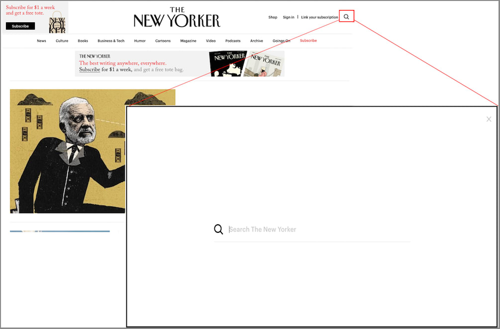 The New Yorker homepage search feature