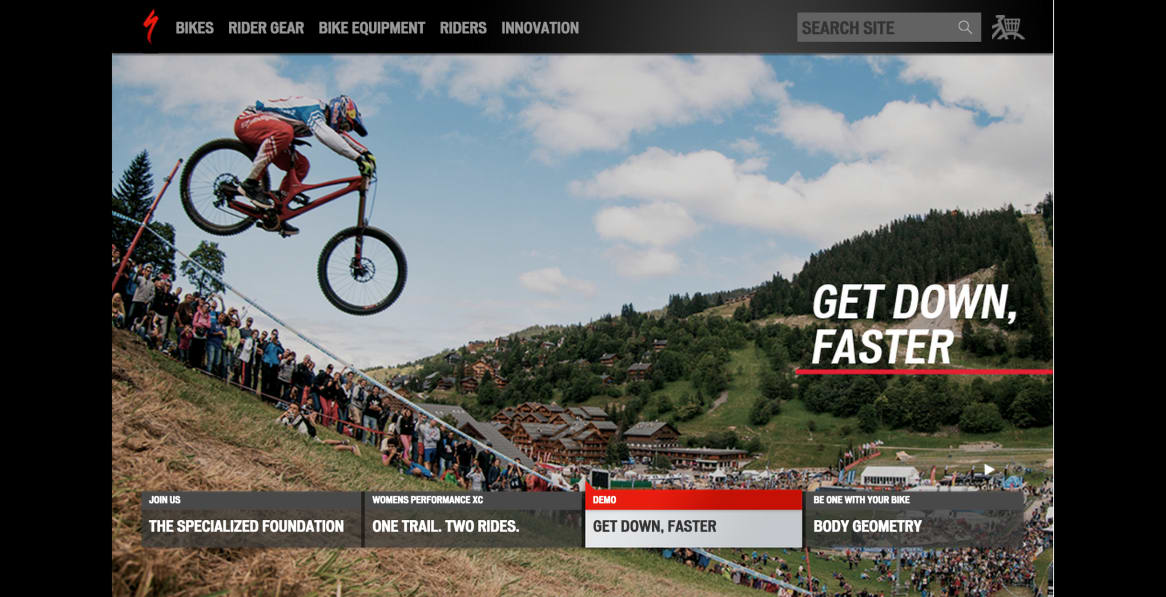 Specialized homepage with logo redesign