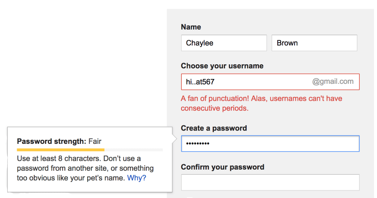 gmail's create account form