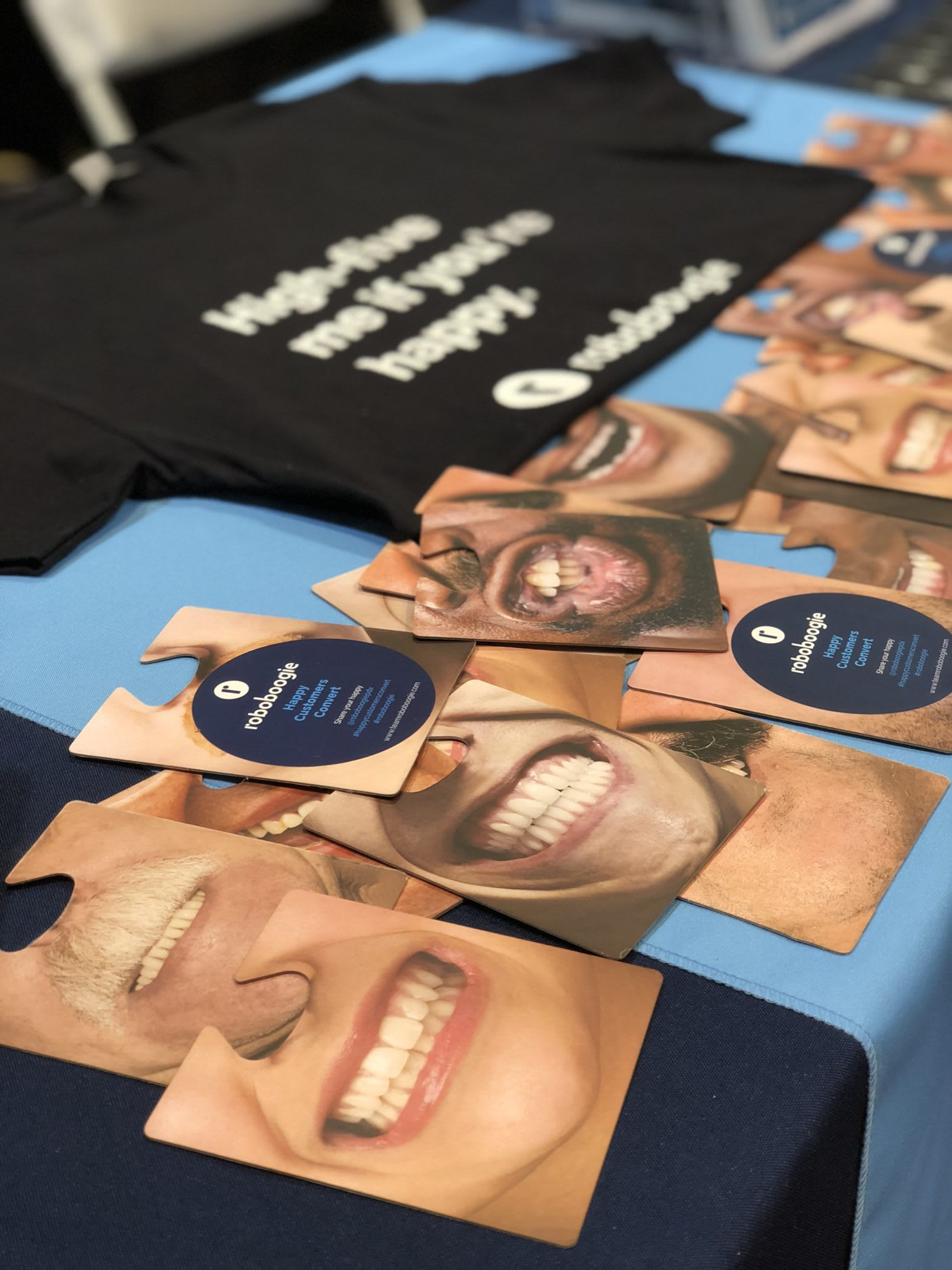 roboboogie swag at DGU including face coasters and shirts