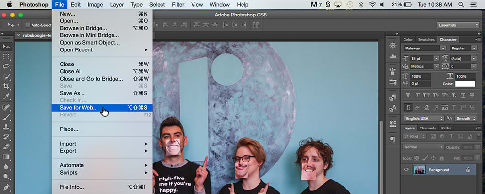 Showing the save for web option on Photoshop