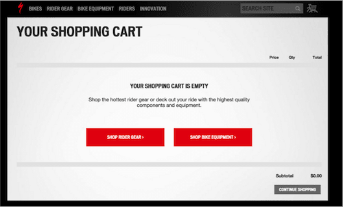 Shopping cart after redesign
