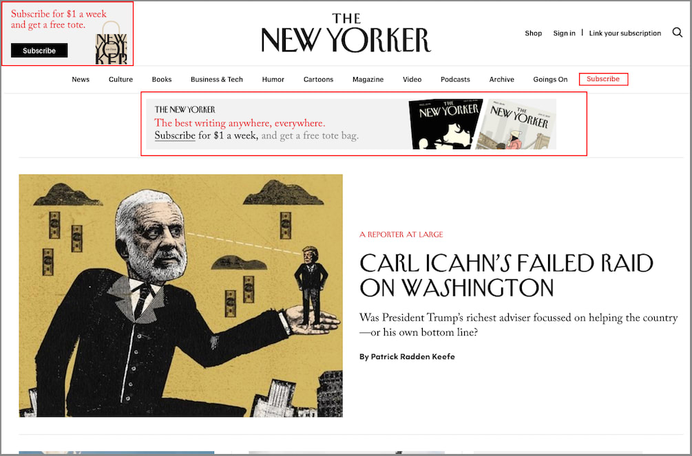 The New Yorker hompage
