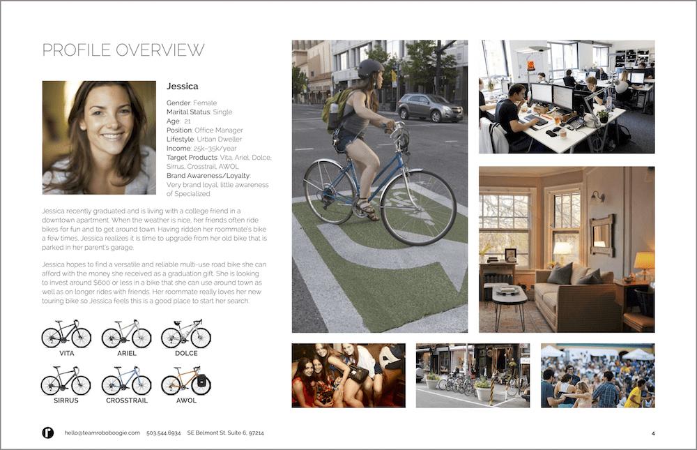 Persona created to represent specialized bikes consumer