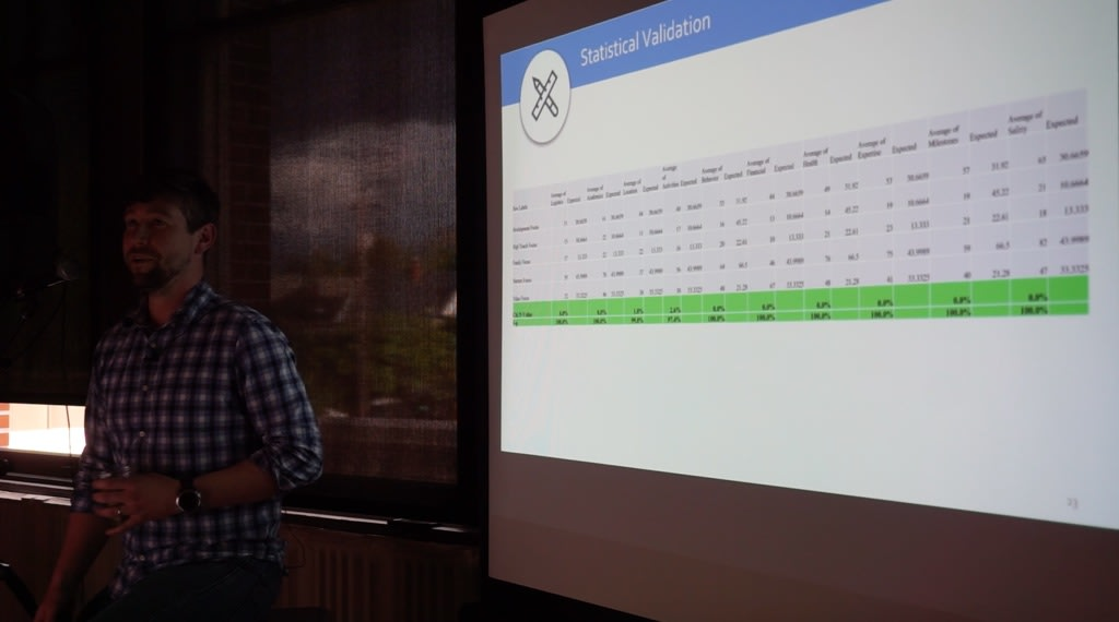 Ryan Summers, the Experience Optimization Lead at Connective DX in front of a presentation screen at Camp Optimization