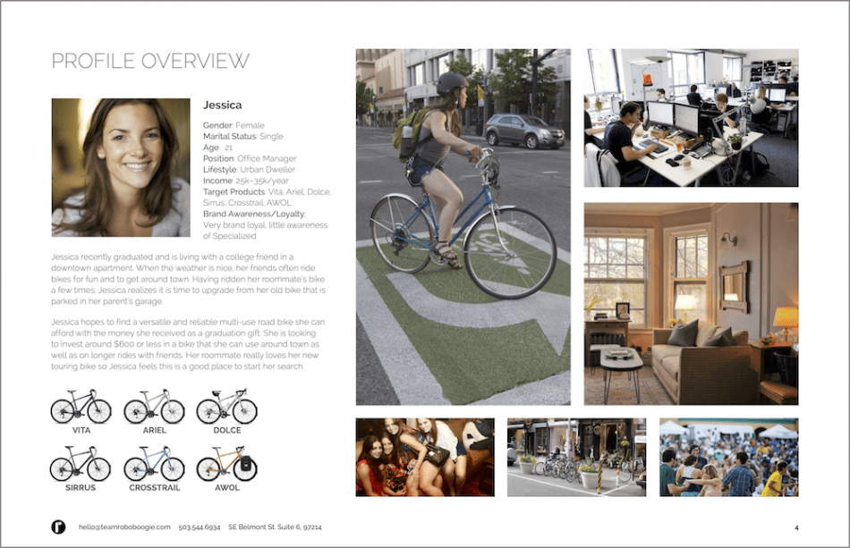 Jessica persona creates to represent a segment of Specialized Bikes consumers