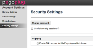 PogoPlug Security Settings