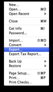 Quicken Essentials Export Menu