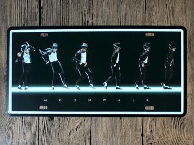 """Matrícula Vintage Michael Jackson Coleccionista """"MOONWALK"""", Alta Calidad, duradero, Decorativo"""