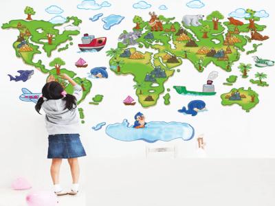 Mapa del mundo adhesivo, Tamaño grande, desmontable, para niños, guardería, sala de juegos