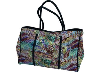 Bolso Tote Multiusos de Neopreno Alta Calidad, multicolor, con bolsillo interior con cremallera